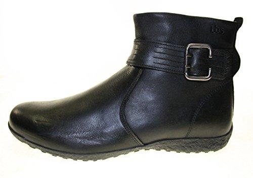 TBS Kathia Stiefeletten Farbe Schwarz ECHT LEDER mit seitlicher Schnalle (Größe 42)