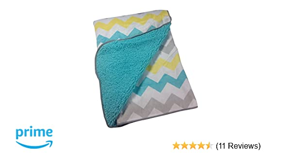 Little Bedding By NoJo Chevron Velboa Blanket in Teal Blue Gray /& Yellow