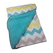 Little Bedding By NoJo Chevron Velboa Blanket in Teal Blue, Gray, & Yellow