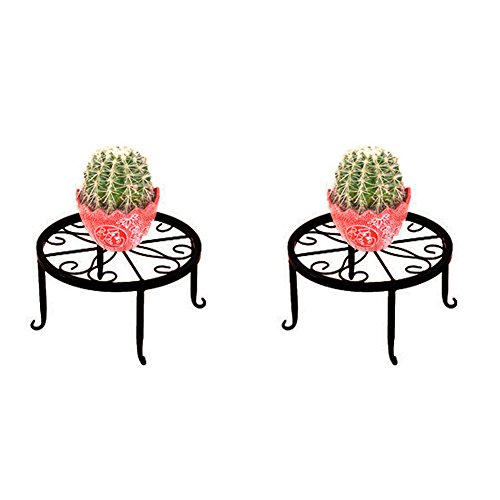 Whthteey Strong Wrought Metal Iron Art Plant Stands Decorative Garden Flower Pot Holder for Indoor Outdoor (2 Pack, Black) by Whthteey