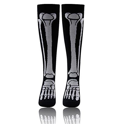 Skeleton Socks,Men's Women's Funny Crazy Novelty Leg Bones Design Halloween Knee Socks WXXM 1 Pair Black and White ()