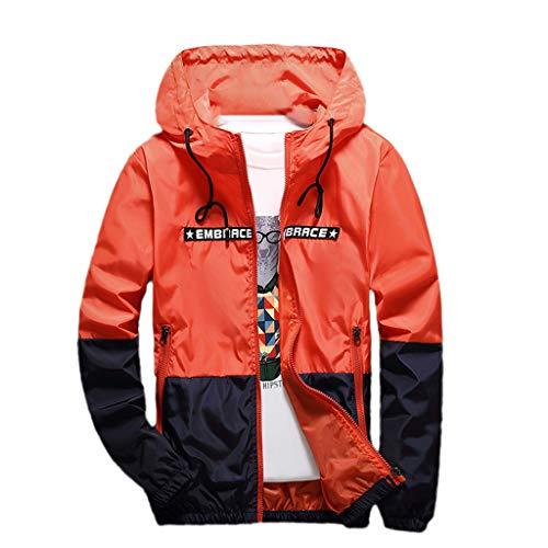 d4f0abccc1023 Zolimx Giacca E Sciolto Felpa Outwear Di Arancione Con Abbigliamento orange  Top Uomo Dimensioni Cappotto Grandi D assalto Da Stile Cappuccio Autunnale  ...