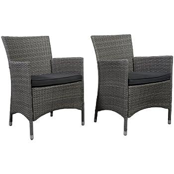 Atlantic Liberty Deluxe Wicker Armchair, Grey, Set Of 2