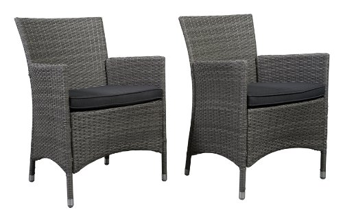 "Atlantic Liberty Deluxe Wicker Armchair, Grey, Set of 2 - Atlantic Lifestyle Collection 2 armchairs 23.5"" W x 24.5"" D x 35"" H w/ cushions. Seating Dimensions21Wx18.5Dx18.5H. High quality synthetic wicker construction. Its resistance to weather and UV radiation makes the set durable and enjoyable. - patio-furniture, patio-chairs, patio - 41ptlv7Bx1L -"