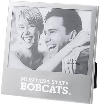 CollegeFanGear Montana State Silver 5 x 7 Photo Frame Montana State Bobcats Stacked Engraved