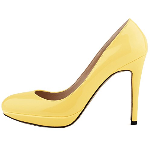 Toe Yellow Color Heel Leather Womens Pointed Shoes Pumps Fashion Candy Thin Dress Platform Patent Dethan High qBIxwZq