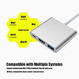 USB C Adapter,CableMe USB C to HDMI Adapter 4K + USB 3.0 + USB Type C Hi-Speed Data Syncing and Charging Port Works with MacBook ChromeBook Pixel Dell XPS13 Nexus 5X and All USB-C Devices to HDTV