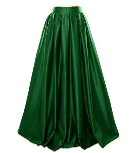 Satin Dunkelgrun MACloth Formal Skirt Dress Long Party Women Prom Evening qwAEwz1