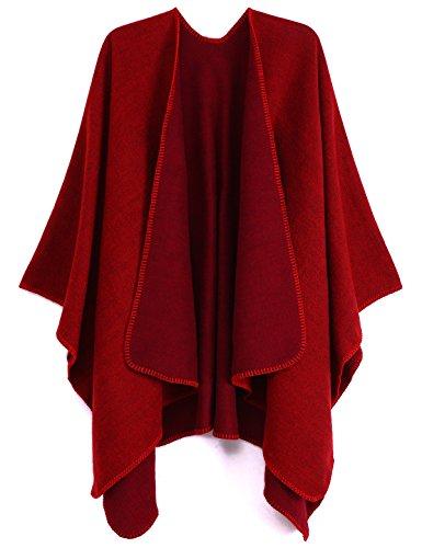 ADOMI Womens Winter Elegant Reversible Oversized Blanket Poncho Cape Shawl Cardigans Red