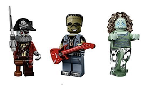 LEGO Collectible Minifigures Series 14 : Monster Rocker, Zombie Pirate Captain, Banshee (Monsters, Zombies, Halloween Custom Bundle)