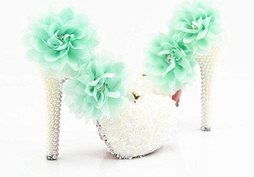 YCMDM scarpe da sposa scarpe tacco alto scarpe da sposa impermeabili White Lace fiore blu di cristallo scarpe da sposa scarpe da sera di diamanti artigianali , 8 cm with high reservation , 42