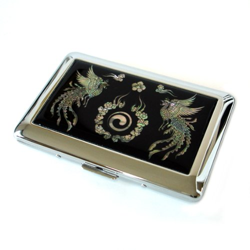 Antique Alive Mother of Pearl Phoenix Yin Yang Design Engraved Metal Cigarette Holder Case, Black ()