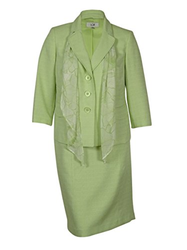 Le Suit Women's Plus-Size Tweed Jacket with Skirt and Scarf Suit Set, Pale Crabapple, (Tweed Skirt Set)