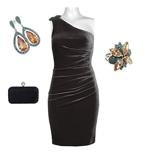 Complete Attire Bundle: Beaded One Shoulder Ruched Side Velvet Dress With - Moana Ana