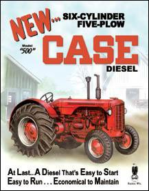 Case 500 Diesel Tractor Tin Sign 13 x 16in