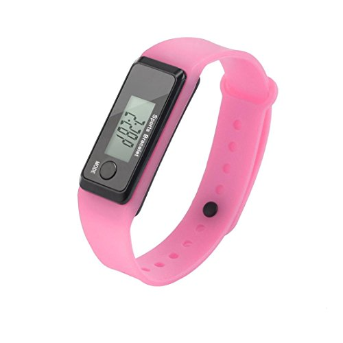 LCD Walking Pedometer, Accurate Step Counter, Calorie Counter, Exercise Time Pedometer Watch for Kids Women Men Seniors (Pink)