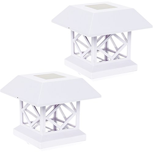 GreenLighting Outdoor Summit Solar Post Cap Light for 4x4 Wood Posts 2 Pack (White) ()