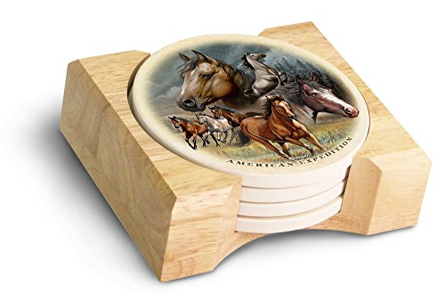 (American Expedition Mustang Collage Stone Coaster Set, Multicolor)