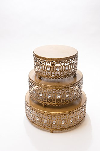 Opulent Treasures Antique Gold Cake Stands, Round, Set of 3, Decorative Moroccan Metal Design with Clear Jewels