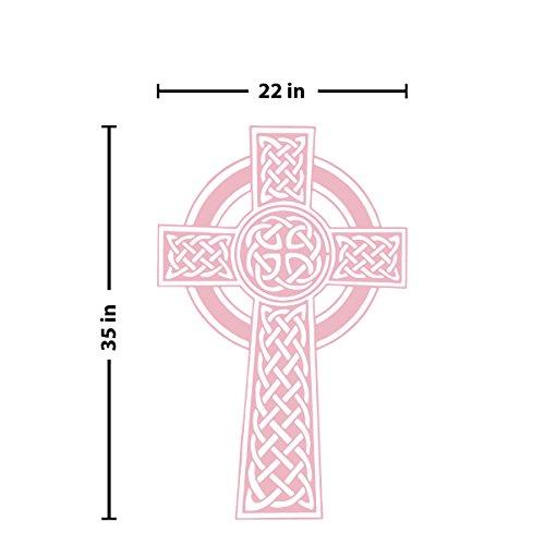 Carnation Cross - Celtic Knot Cross Wall Decal (Carnation Pink, 35
