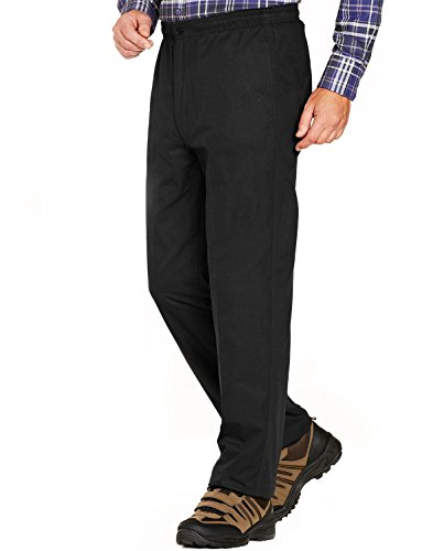 Hommes Fleece Lined Tirage Thermique Élastique Cordon Pantalon Noir 112cm x 69cm