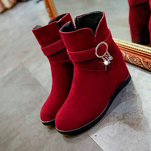 Martin Colgantes Piel con Calzado para 2018 Señora Zapatos PAOLIAN Botines Rojo Plano Otoño Grande de Mediano Botas Cuña Botas Invierno Tacón Dama Moda Mujer de de Talla Terciopelo SqagfxB