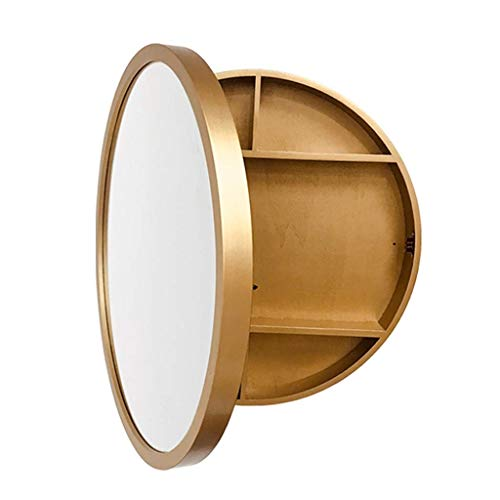 Gold Medicine Cabinet - SDK Round Bathroom Mirror Cabinet, Bathroom Wall Storage Cabinet Mirror Medicine Cabinet with Slow-Close Wooden Frame 3 Level (color : Gold, Size : 50CM)
