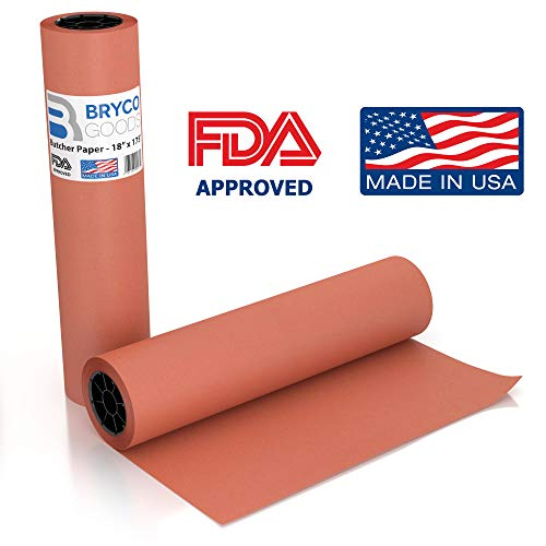 (Pink Kraft Butcher Paper Roll - 18 Inch x 175 Feet (2100 Inch) - Food Grade FDA Approved – Peach Wrapping Paper for Smoking Meat of All Varieties – Made in USA – Unbleached, Unwaxed and Uncoated)