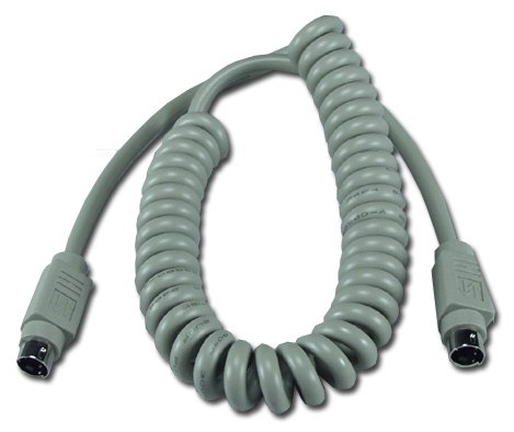 QVS 12ft Mini4 Male to Male Apple/Mac Compatible Replacement ADB Coiled Keyboard Cable