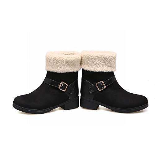 Mee Shoes Women's Snow Faux Fur Slip On Short Boots Black pyvEZ8k4
