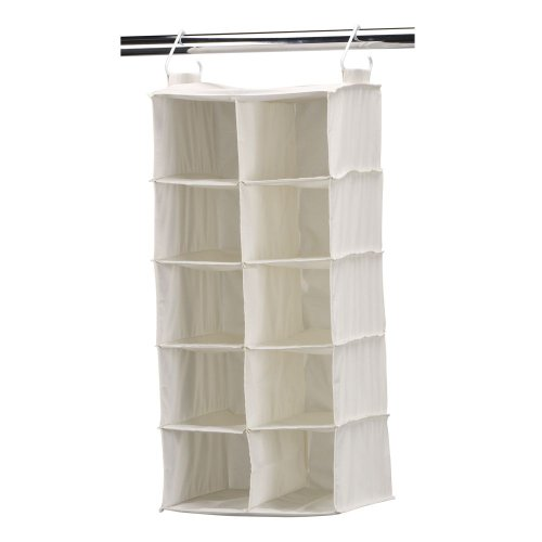 Household Essentials 311344 10 Pocket Hanging Shoe Storage Organizer for Closets | Natural Canvas (Double Hang Closet)