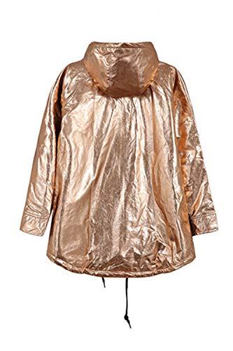 Mujer Impermeable Amarillo Lluvia Metálico Impermeable Brillo Zonsaoja Suelto De Chaqueta De qOIZxnpEU