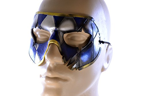 Two Face Harlequin Handmade Genuine Leather Mask in Blue White and Gold for Masquerades Halloween or (Adult Twoface Costume)