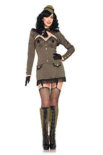 Leg Avenue Women's 5 Piece Pin Up Army Girl Costume, Khaki, Small (Military Halloween Costumes For Womens)