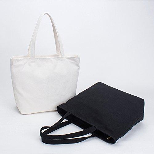 Travel Nclon Bags white Canvas Shoulder 100 Cotton Capacity Single Black Lady Bag Bag Shopping Bag Handbag Large vrfqv