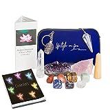 Authentic Chakra Crystals and Healing Stones Gift Set- 7 Chakra Tumbles, Amethyst Cluster, Wands Set-Metaphysical, Spiritual, Healing, Reiki, Meditation 41 Pg Ebook, Zipper bag, Keychain
