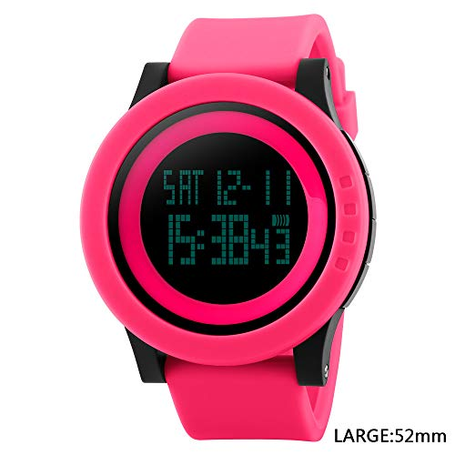 Men's Digital Sports Wrist Watch LED Screen Large Face Electronics Military Watches Waterproof Alarm Stopwatch Back Light Outdoor Casual Watch (L# All Rose Red) (Polder Digital In Oven Thermometer Timer Graphite Color)