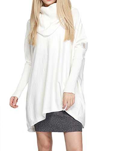 Mordenmiss Women's Cowl Neck Sweaters Ribbed Pullover Knit Tops Style 1 M-White