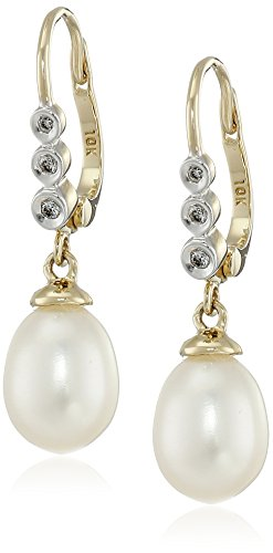 10k Yellow Gold Diamond and Freshwater Cultured Pearl Drop Earrings