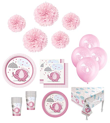 Baby Girl Shower Pink Elephant Theme Party Supplies Decorations Tableware Plates Napkins CupsTable Cover Banner Balloons Tissue Pom Poms Serves 24