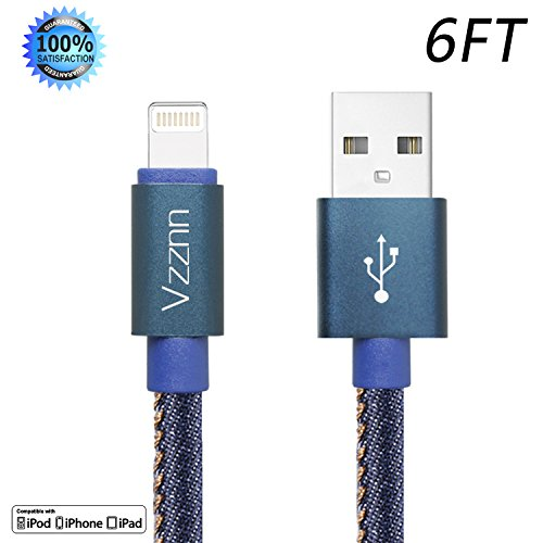 Lightning Cable 6FT iphone Cable Jean Braided High Speed Lightning to USB Charger Cable Cord iPhone Cable for iphone 7/7plus se 6s 6s plus 6plus 6 5s 5C 5 iPad iPod Mini(blue)