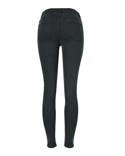 Damen Skinny Hose Jeans Strecken Ripped Loch Lässige Jeanshose  Amazon.de   Bekleidung 67cab5b7fb