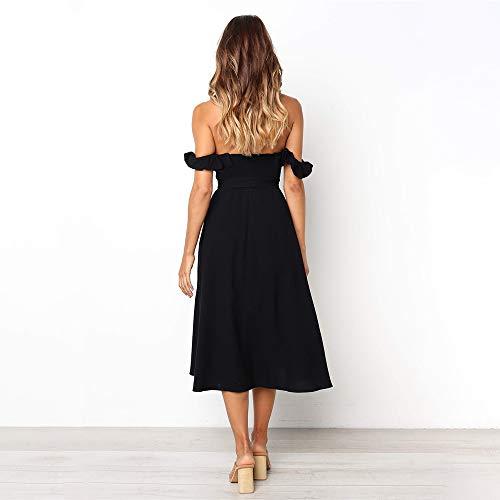 bb9bd9c9207 Exlura Women s Ruffle Off Shoulder Tie Waist Midi Sundress Button Down Maxi  Dress with Pocket