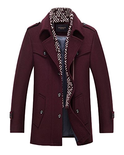 Chartou Men's Classic Notched Collar Single Breasted Military Wool Blend Peacoat With Scarf (Burgundy, Medium)