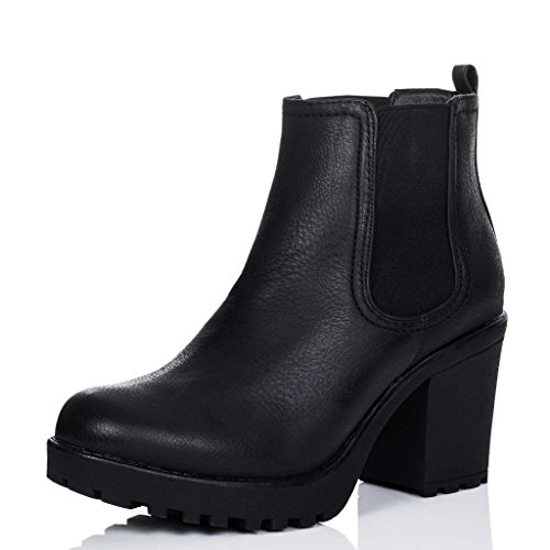 Cleated Sole Block Heel Chelsea Ankle Boots Pumps Black Leather Style SZ ()