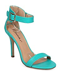 Designed with leatherette upper, open toe, padded insole, single sole, low covered stiletto heel and ankle strap with adjustable buckle.