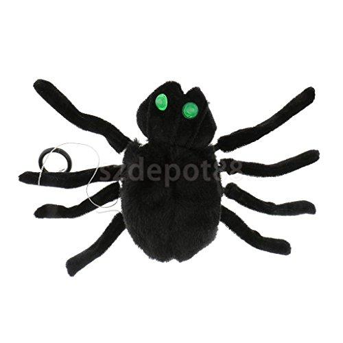 Black Sound Control Spider Halloween Bar Party Decoration Tricky Toy by uptogethertek