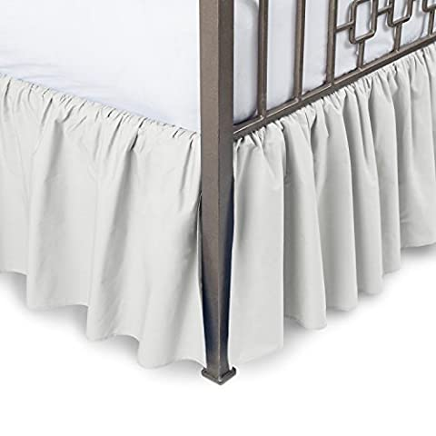 Harmony Lane Ruffled Bed Skirt with Split Corners - Queen, Bone, 21 Inch Drop Bedskirt (Available in All Sizes and 16 Colors)