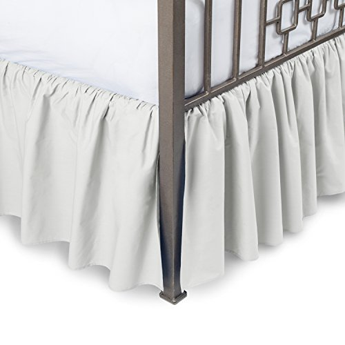 Harmony Lane Ruffled Bed Skirt with Split Corners - Cal King, Bone, 18 Inch Drop Bedskirt (Available in and 16 Colors)