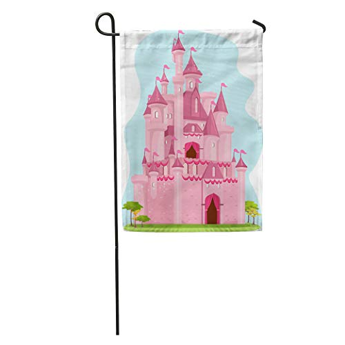 Semtomn Garden Flag Princess of Cute Pink Castle Palace Cartoon Clipart Girly Kingdom Home Yard House Decor Barnner Outdoor Stand 12x18 Inches Flag